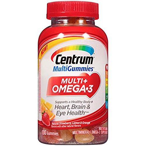 Centrum MultiGummies Multi Omega-3 Multivitamin, Strawberry, Lemon, Orange, 100 Gummies Pack of 2