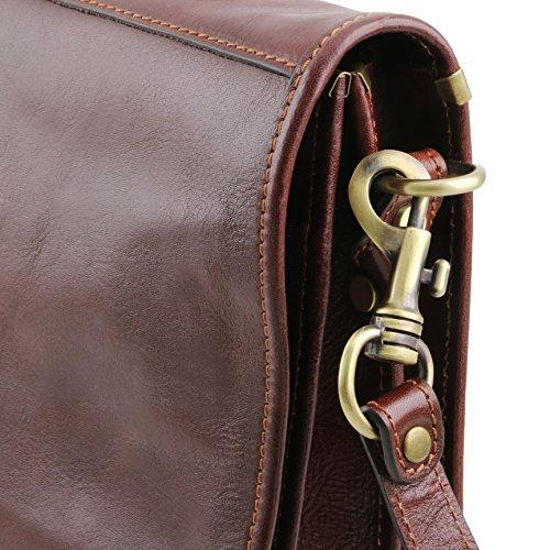 81413444 - TUSCANY LEATHER: CERTALDO Messenger Cartable en cuir avec 2 compartiments, marron foncé