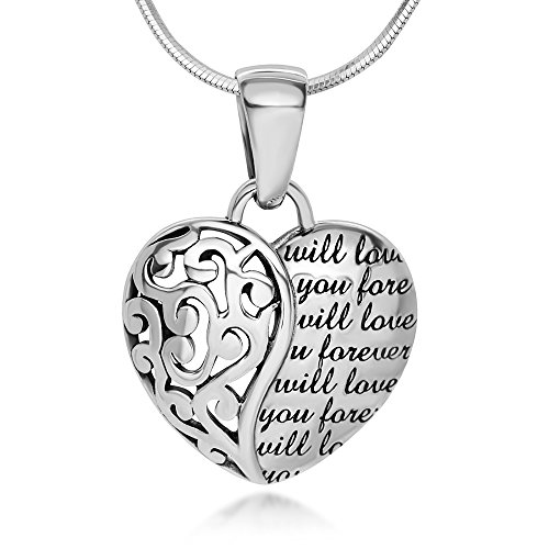 (Chuvora 925 Sterling Silver Will Love You Open Filigree Heart Shaped Pendant Necklace, 18