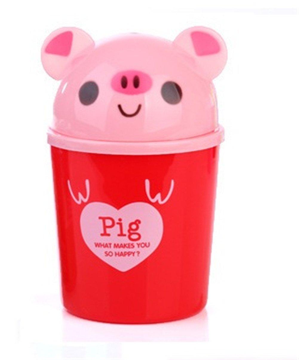 Topdo 7 Styles Cute Desktop Trash Can Plastic Mini Cartoon-Shape Tiny Countertop Trash Bin Can Rubbish Bin with Swing Lid-Pig Shape