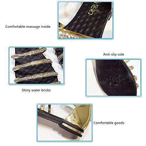Goodful Sandales Plates Clip Toe Perlé Paillettes Chaussures pour Femmes Golden h8PFCLM