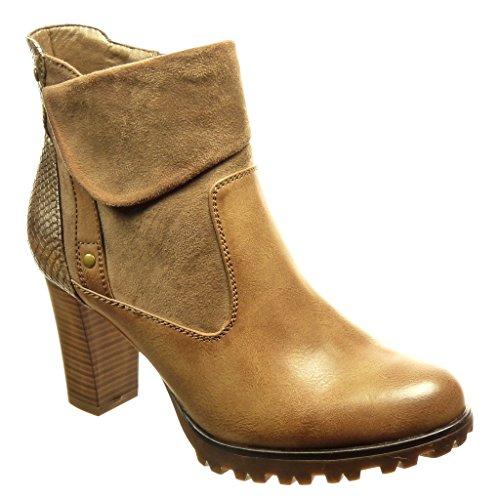 Angkorly - Zapatillas de Moda Botines low boots bimaterial mujer piel de serpiente tachonado Talón Tacón ancho alto 8 CM - plantilla Forrada de Piel - Caqui