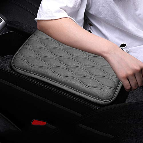 Dotesy Auto Center Console Cover Armrest Pads, PU Leather Universal Car Center Console Box Arm Rest Pads Cushion Protector (Gray)