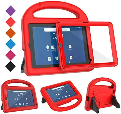 BMOUO Kids Case for Walmart Onn 7 inch Tablet,Onn 7 inch Tablet Case – Built-in Screen Protector, Shockproof Light Weight Protective Handle Stand Case for Onn 7″ Android Tablet (Model: 100005206), Red