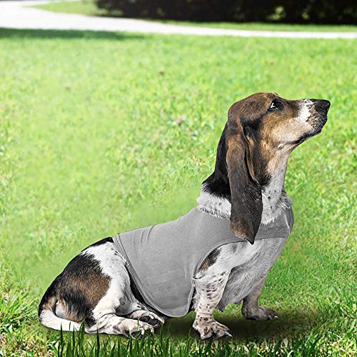 laamei Dog Anxiety Vest Jacket Calming Wrap Soft Pets Anti-Anxiety Shirt Stress Relief Keep Calm Clothes X-Small Light Grey