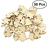 LUOEM DIY Crafts Natural Wood Slices Christmas Series for DIY Craft Christmas Rustic Ornaments Slice, Pack of 50