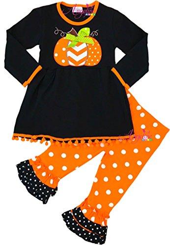 - Angeline Girls Halloween Pumpkin Polka Dot Dress Legging Set 7T/XXL