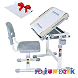 FD FUN DESK Height Adjustable Children Desk & Chair Set, Kids Workstation for School, Kids Study Table in BAMBINO (Grey)+1 Paper Roll Gift