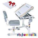 FD FUN DESK Height Adjustable Children Desk & Chair Set, Kids Workstation for School, Kids Study Table in BAMBINO (Grey)+1 Paper Roll Gift