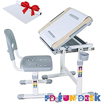 FD FUN DESK Height Adjustable Children Desk U0026 Chair Set, Kids Workstation  For School,