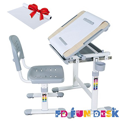 FD FUN DESK Height Adjustable Children Desk & Chair Set, Kids Workstation for School, Kids Study Table in BAMBINO (Grey)+1 Paper Roll Gift by Fun Desk