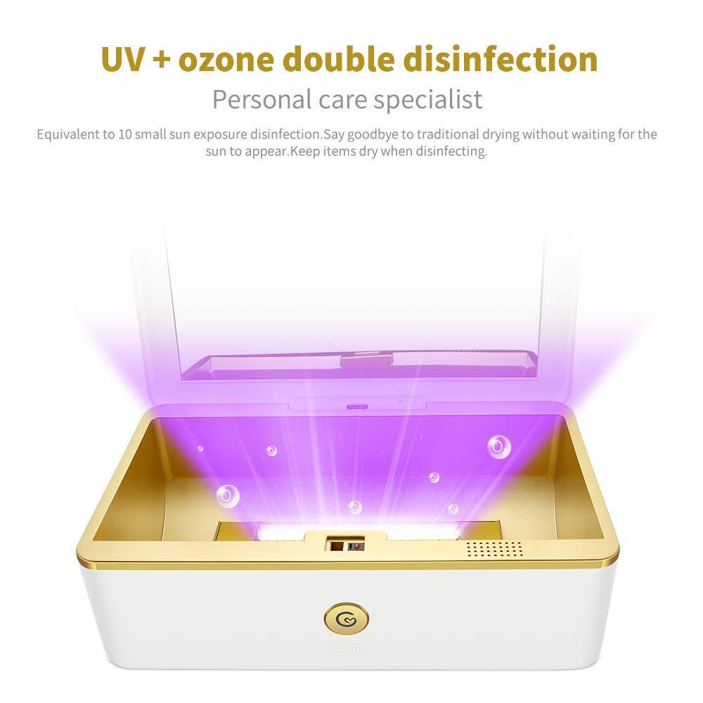 Lumi/ère UV St/érilisateur Bo/îte T/étine Portatif Ultraviolet Lumi/ère Lozone D/ésinfectant Bo/îte avec Germicide Lampe pour T/él/éphone Portable Pinceaux de Maquillage Salon Brosse /à Dents