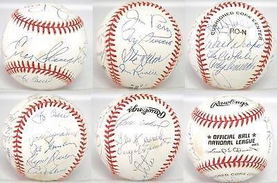 HOF & Stars Multi Signed Baseball 17 AUTO 's Slaughter Berra Kaline + JSA ALOA - Multi Signed Baseball