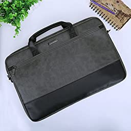 17.3 inch Laptop Shoulder Bag, Evecase PU Leather Modern Business Tote Briefcase Laptop Messenger Bag with Accessory Pockets ( Fits Up to 17.3-inch Macbook, Laptops, Ultrabooks) - Black / Gray