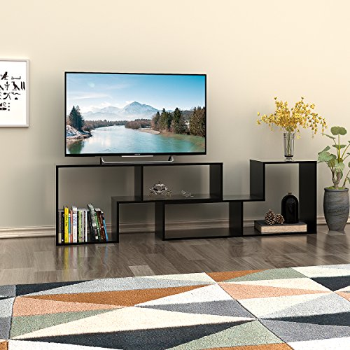 DEVAISE TV Stand / 2 Pieces Bookcase / Bookshelf (0.59″ Thk, Black)