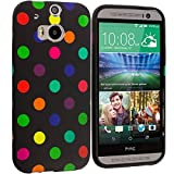 Cell Accessories For Less (TM) Black / Colorful TPU Polka Dot Skin Case Cover for HTC One M8 Bundle (Stylus & Micro Cleaning Cloth) - By TheTargetBuys