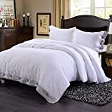 Simple&Opulence 100% Washed Linen Coconut Wood Deduction Solid Grey Bedding Set with 1 Duvet Cover 2 Pillowcases