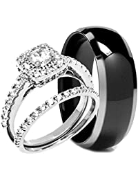 his hers 3 pieces black titanium and sterling silver engagement wedding ring set - Stainless Steel Wedding Ring Sets