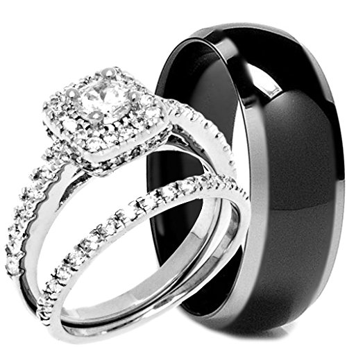 (3 Pieces Men's and Women's, His & Hers, 925 Genuine Solid Sterling Silver & Pyramid Titanium Engagement Matching Wedding Ring Set)