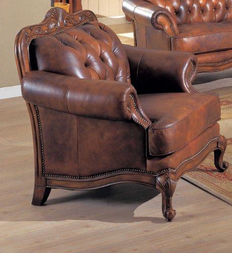 Chair Button Tufted Nail Head Trim Tri-Tone Leather