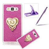 Cover for Samsung Galaxy E5,Rubber Case for Samsung Galaxy E5,Herzzer Super Slim [Gradient Color Changing] Dust Resistant Soft Flexible TPU Bling Glitter Protective Case for Samsung Galaxy E5