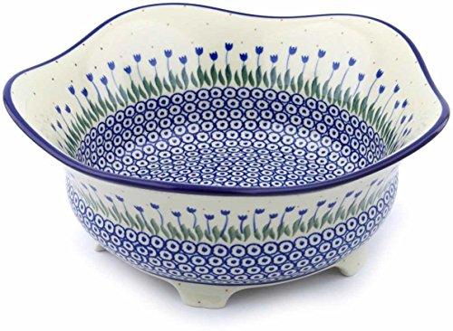 Polish Pottery 12-inch Bowl made by Ceramika Artystyczna (Water Tulip Theme) + Certificate of Authenticity by Polmedia Polish Pottery