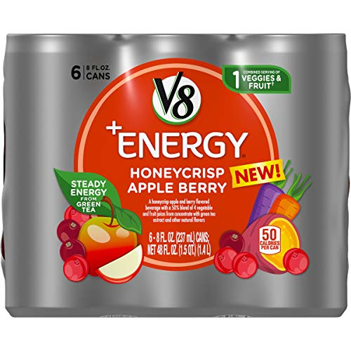 V8 +Energy, Healthy Energy Drink, Natural Energy from Tea, Honeycrisp Apple Berry, 8 Ounce Can (4 Packs of 6, Total of 24)