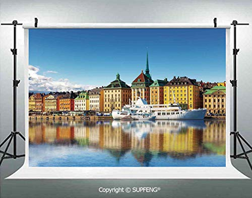 Background Summer Panorama of The Gamla Stan in Stockholm Sweden Yacht Ship by The Port Ocean 3D Backdrops for Interior Decoration Photo Studio Props