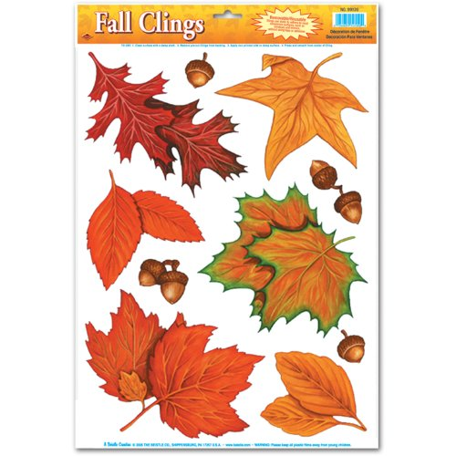 Fall Leaf Clings Party Accessory (1 count) (Maple Leaf Halloween Costumes)