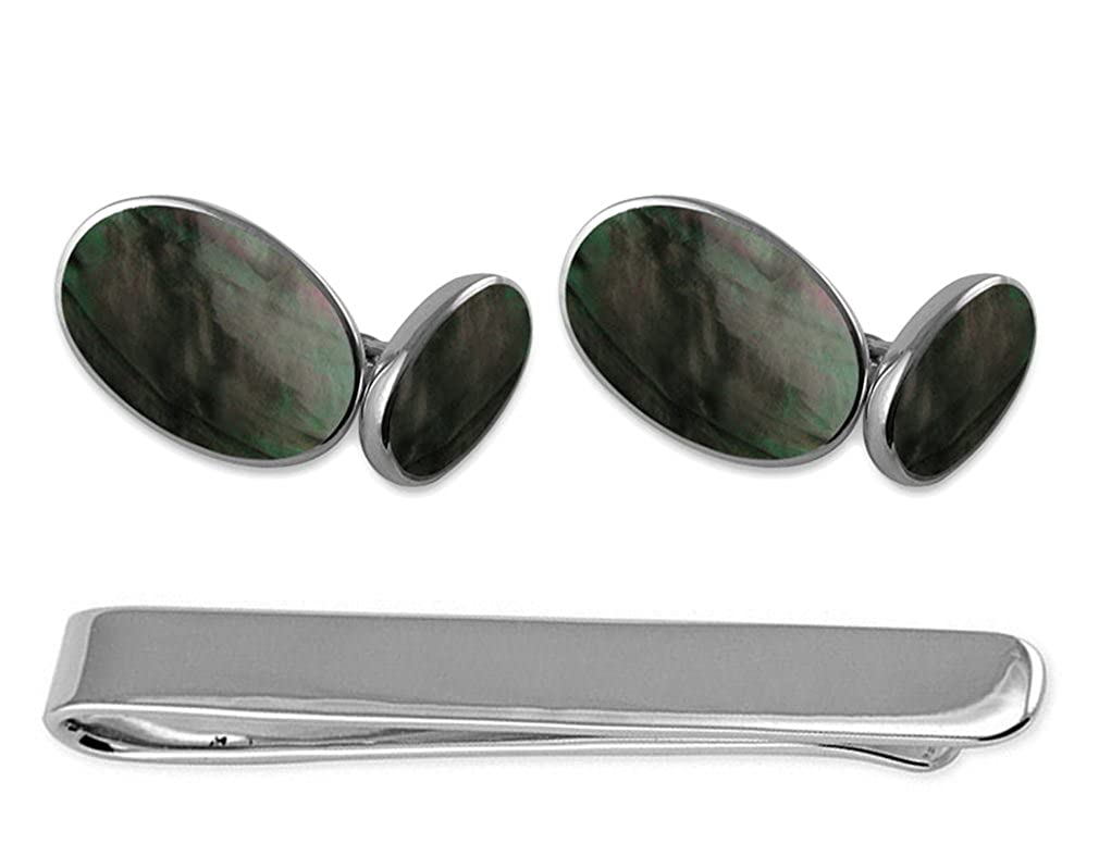 Sterling silver black shell double-sided Cufflinks Tie Clip Box Set
