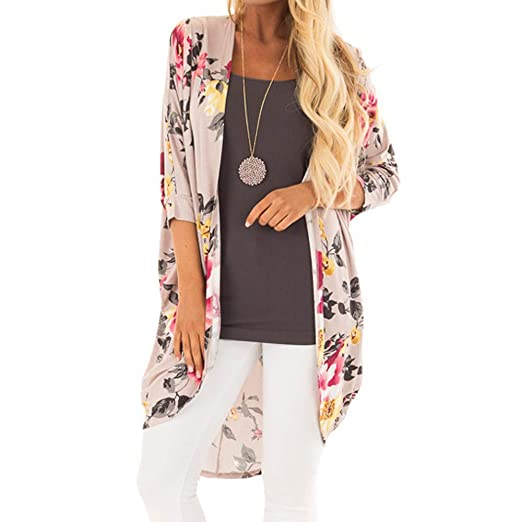 d83e31be57e Kimono for Women, 2019 New Women's Floral Smock Cardigan Sheer Tops Loose  Blouse Cover Ups at Amazon Women's Clothing store: