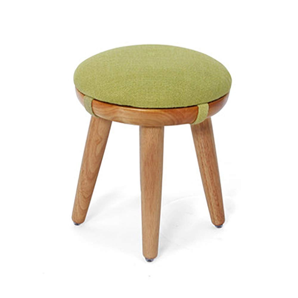 Small ZHILIAN& Solid Wood Stool Simple Round Detachable Linen Stool Set Family Living Room Sofa Stool Dining Stool (Size   S)