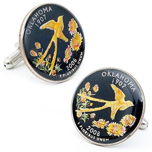 Penny Black Hand Painted Oklahoma State Quarter Cufflinks...