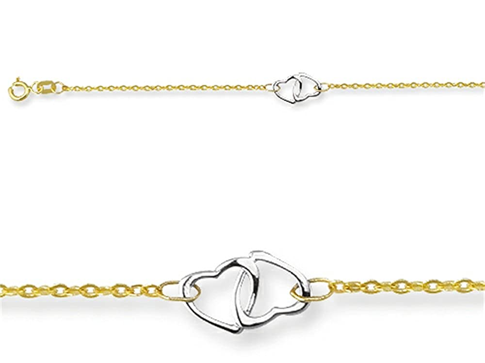 10 Inches 3 Double Hearts Adjustable Ankle Bracelet 14kYellow Gold Finejewelers 460008