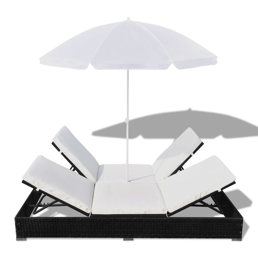 Weather Resistant Outdoor Wicker Sun Bed Poly Rattan Black 77.6 x 55 x 74.8 Tidyard Patio Chaise Lounge Sun Lounger with Umbrella Adjustable L x W x H