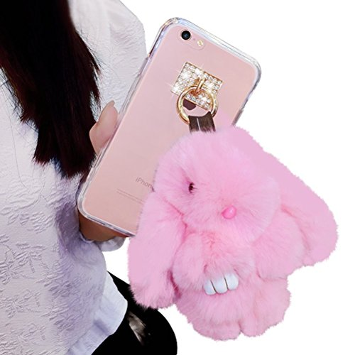 Dreams-MallTMApple-iphone7-plusCute-Plush-Fluffy-Rabbit-Pendant-Diamonds-Transparent-Case-Cover-Coque-Shell-Protection-Skin-Sleeve