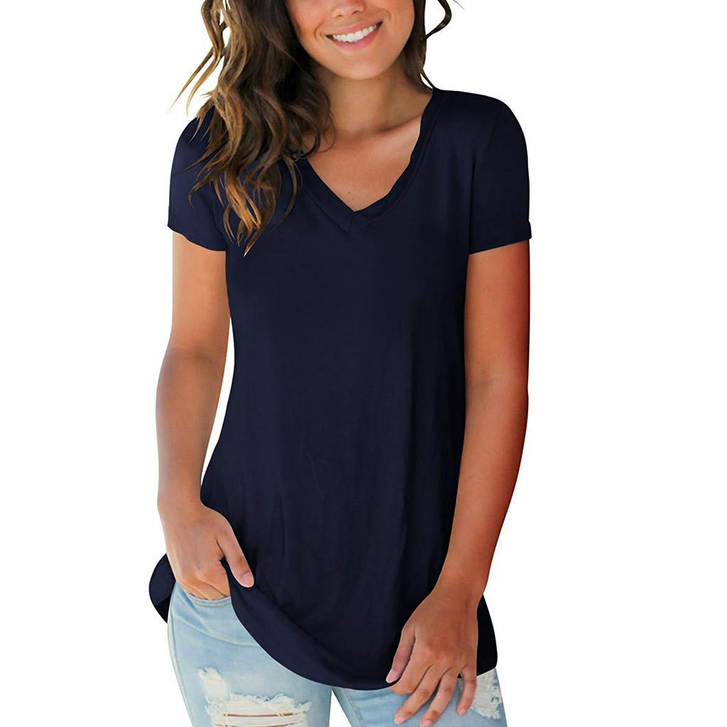 Tops for Womens Casual V-Neck Solid Short Sleeve T-Shirt Loose Comfort Long Blouse (S, Navy)