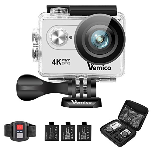 Vemico 4K Action Camera Ultra HD WIFI Waterproof Underwater 2.4G Remote Control Camcorder 16MP Sports Helmet Cam 2.0'' Screen with 3 Rechargeable Batteries and Free Mounting Accessories