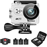 Vemico 4K Action Camera Ultra HD WIFI Waterproof Underwater 2.4G Remote Control Camcorder 16MP Sports Helmet Cam 2.0 Screen with 3 Rechargeable Batteries and Free Mounting Accessories