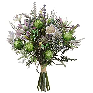 "11.5"" Nigella & Protea Pod Silk Flower Bouquet -Purple/Lavender (Pack of 6) 11"