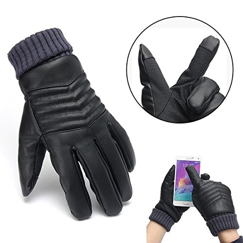 Men Thermal Touch Screen Gloves Artificial Leather Winter Warm Motorcycle Gloves
