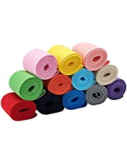 BENECREAT 13 Yards 2 Inch Wide Flat Elastic Bands 12 Colors Sewing Elastic Ribbon Bands for Dress Skirt Waistband Wig Bands