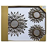 Set of 3 Antique Gold Decorative Wall Mount Sunburst Large 15'' Mirror and Small 10'' Mirror Set