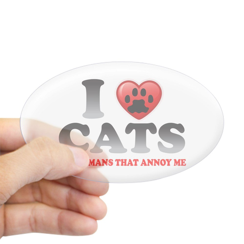 Amazon com: Sticker Clear (Oval) Love Cats It's Humans That Annoy Me
