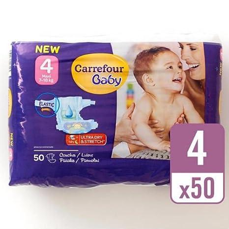 Carrefour bebé Ultra Dry tamaño 4 Pañales esenciales Pack 50 por paquete caso de 4: Amazon.es: Bebé