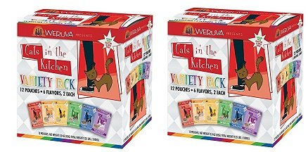 Weruva Cats in the Kitchen Variety Pack Cat Food Pouches (4 pouches each of 6 flavors, 24 pouches total).  Each pouch is 3 ounces.