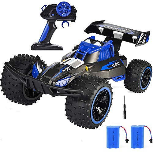 RC Car, NQD 2019 Updated 1:10 Scale High Speed Remote Control Car, 2.4Ghz Off Road RC Trucks with Two Rechargeable Batteries, Electric Toy Car for Toy Gifts for 2, 3, 4, 5, 6, 7, 8 Year Old Boy