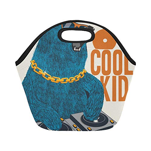 Insulated Neoprene Lunch Bag Hip Hop Bear Tide Cool Fashion Dress Sports Skateboard Animal Cartoon Large Size Reusable Thermal Thick Lunch Tote Bags For Lunch Boxes For Outdoors,work, Office, School