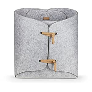 Kasefox Felt Storage Bin - Natural Tan Suede Ties - Premium Grey Felt Organizing Basket - Square Fabric Organizer for Home, Office, Nursery, Toys, Dorm, Closet – Fits in Cube Storage Shelves - Medium