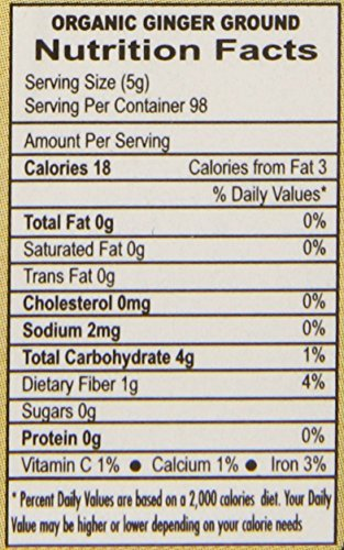 Organic Ginger Root Powder, 1 LB Bulk - Non GMO - for Cooking, Baking, Tea, Health Support -by Jiva Organics